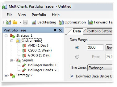 MultiCharts Dynamic Portfolio Backtesting